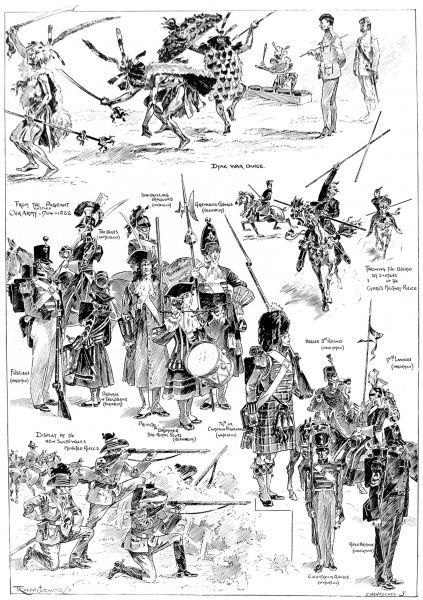 Illustration showing a series of scenes from the Royal Military Tournament, held at the Agricultural Hall, Islington, in 1897. The scenes shown are, clockwise from top: Dyak War Dance; Zaptiens of the Cyprus Military Police; the British Army from 1704-1852