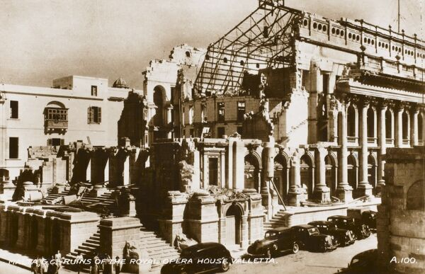 Ruins of the Royal Opera House in Valletta, Malta - severely damaged in 1942 following German bombing raids during World War Two and pulled down following the war