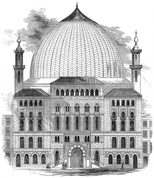 Engraving showing the Royal Panopticon of Science and Art, which was being built in Leicester Square during 1852. When constructed the Panopticon's dome was somewhat smaller in size than this image suggests. This building later became the Alhambra Theatre