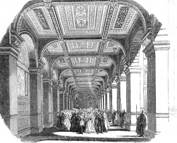 Engraving showing Queen Victoria and Prince Albert processing down the North Ambulatory of the Royal Exchange, at its official opening in 1844