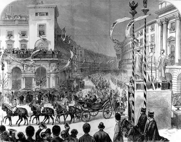 Engraving showing the scene in the Quadrant, Regent Street, as Queen Victoria, in her Royal carriage, passed by, 1874. This was part of a State visit to London by the Queen and the Duke and Duchess of Edinburgh