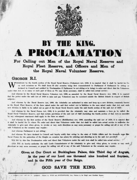 Proclamation by King George V calling for men for the Royal Naval Reserve, Royal Fleet Reserve, and for officers and men of the Royal Naval Volunteer Reserve