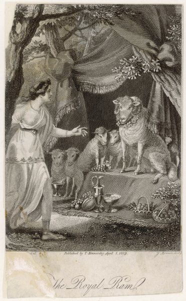 The Royal Ram is a benevolent figure in a fairy tale by Madame d'Aulnoy. Here he is helping Merveilleuse who has just recounted her difficulties to him