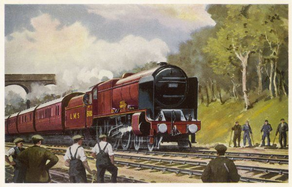 A maintenance gang stop work to watch the Royal Scot go by