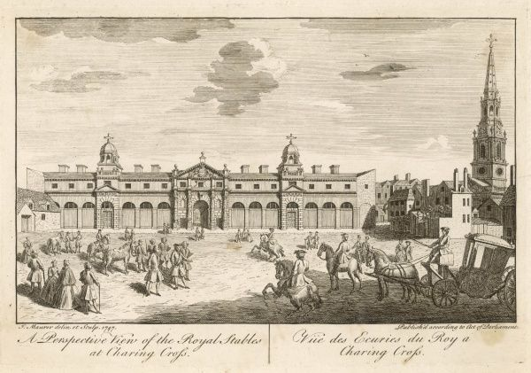 Horses and carriages are the principal form of transport for royalty & nobility, so the Royal Stables at Charing Cross play a vital role. St Martins in the Fields to the right