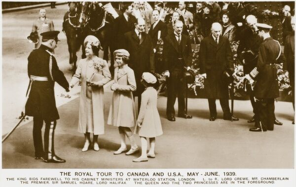 Royal Tour by the British Royal Family to Canada and USA during May and June 1939. King George VI bids farewell to his cabinet Ministers at Waterloo Station, London. The Ministers from left to right: Lord Crewe, Prime Minister Neville Chamberlain