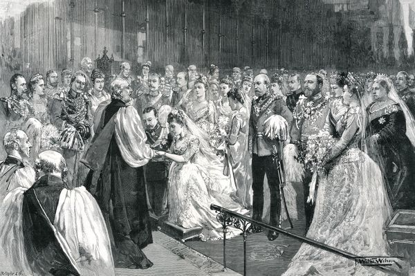 Marriage of Princess Marie-Louise of Schleswig-Holstein (younger daughter of Princess Helena, Princess Christian of Schleswig-Holstein), to Prince Aribert of Anhalt in St