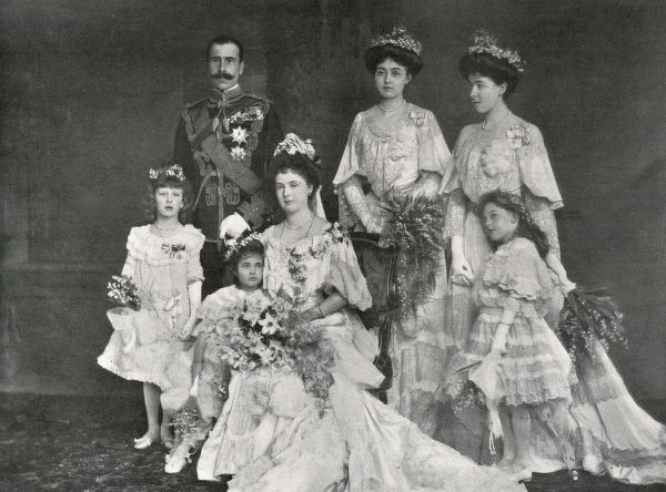 Princess Alice of Albany, later Countess of Athlone (seated) (1883-1981) and Prince Alexander of Teck, later Alexander Cambridge, 1st Earl of Athlone (1874-1957), photographed on their wedding day. The five bridesmaids are, from left to right