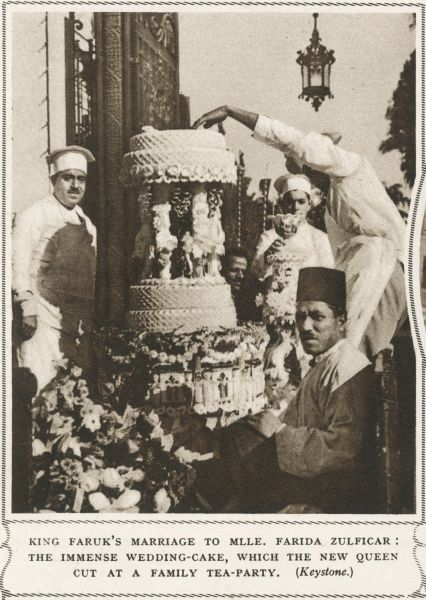 The immense wedding cake of King Faruk and Queen Farida of Egypt