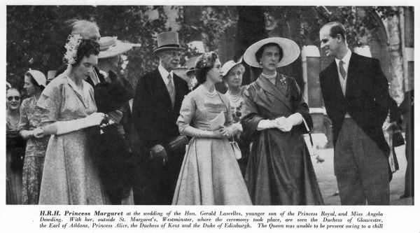Assorted members of the royal family attending the marriage of Gerald Lascelles & Angela Dowding at St. Margaret's. Prince Philip on the right and Princess Margaret centre. Date: 23 July 1952