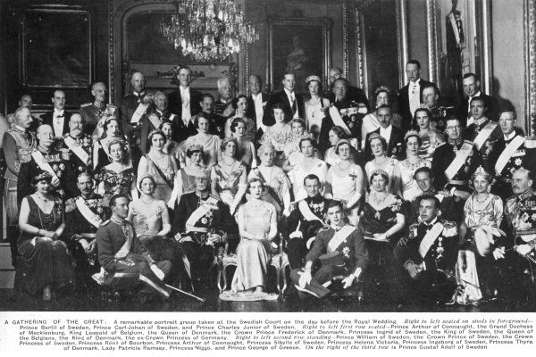 A remarkable portrait group taken at the Swedish court the day before the Royal wedding between Princess Ingrid of Sweden and Prince Frederick of Denmark in May 1935