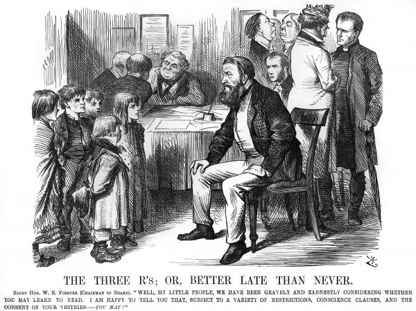Following the introduction of the Elementary Education Act, commonly known as Forster's Education Act, in February 1870, Punch magazine depicts William Forster, the Liberal MP who drafted the Act, addressing children from a poor background