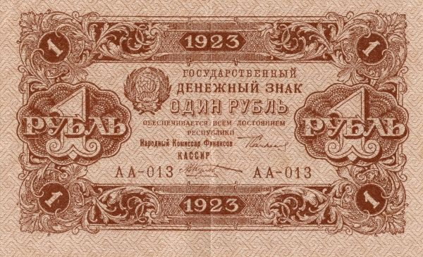 Front of a Russian banknote on 100 rubel edited 1923. Date: 1923