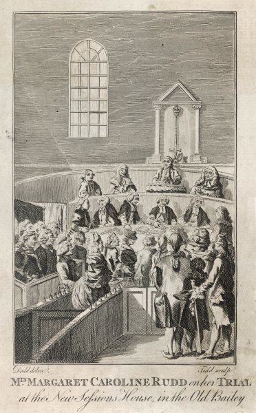 'Mrs Margaret Caroline Rudd on her Trial at the New Sessions House, in the Old Bailey' (London)