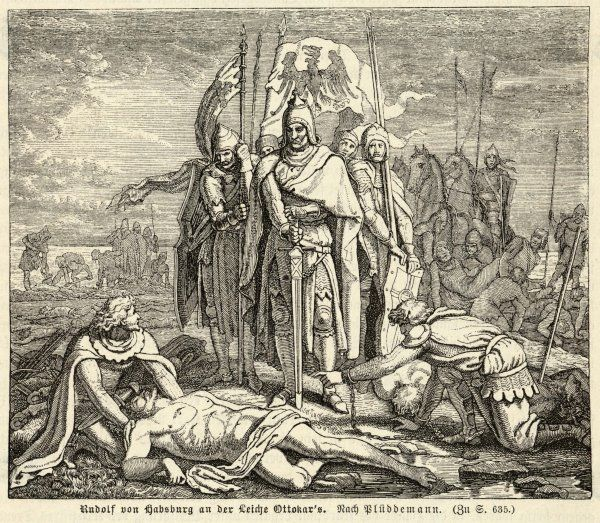 Emperor Rudolf stands victoriously over the corpse of Ottokar II of Bohemia, having defeated him at Marchfeld