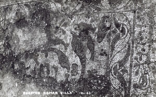 Rudston Roman Villa mosaics during excavation - Rudston, East Yorkshire - dated to the 4th century