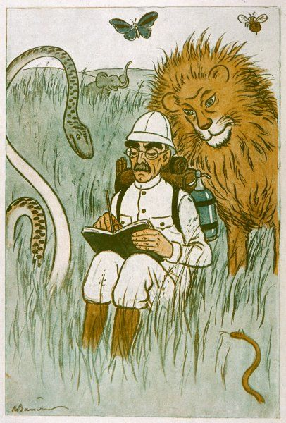 Cartoon of English writer, Rudyard Kipling (1865-1936), writing in the Indian bush watched by a snake and a lion