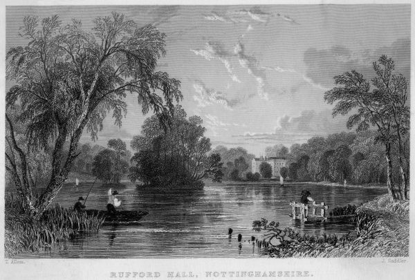 Distant view of Rufford Hall, Nottinghamshire, across a stretch of water. Date: circa 1830
