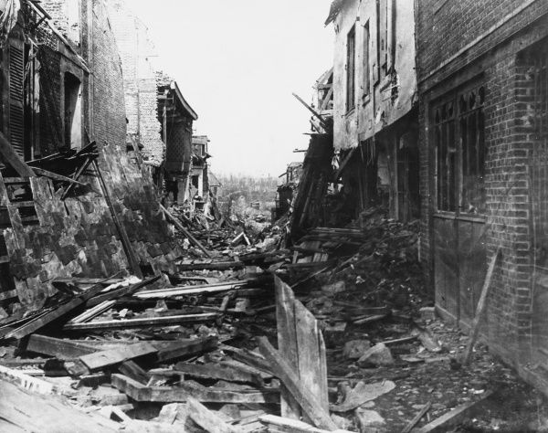 Ruins of the town of Peronne on the British Front in France during World War I in 1917