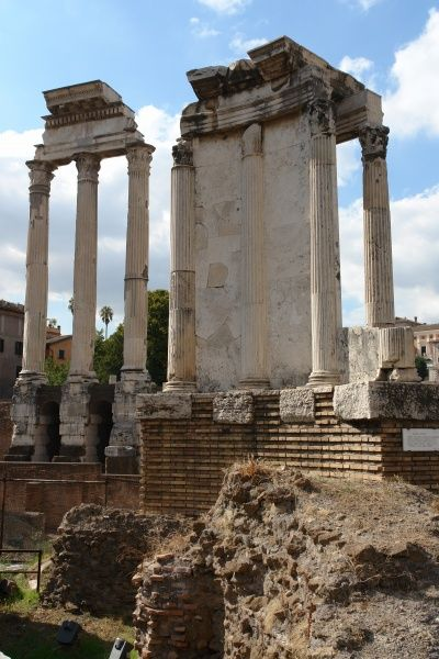 View of ruins and pillars in the Roman Forum, or Forum Romanum, Rome, Italy. This was the central area around which the ancient Roman civilization developed, serving as a city square where the people gathered for legal, political, religious