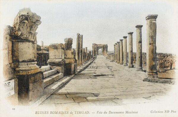 Timgad - Algeria - Roman Ruins. Known as Thamugas by the Romans, Timgad was a Roman colonial town in North Africa founded by the Emperor Trajan. The 'Decumanus Maximus' - the main east-west-oriented road in a Roman city, castra (military camp)