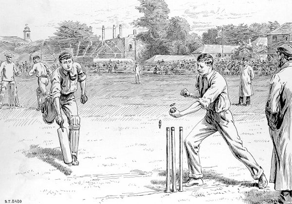 Engraving showing a fielder running out one of the batsmen, during a game of cricket at Lord's Cricket Ground, London, 1895