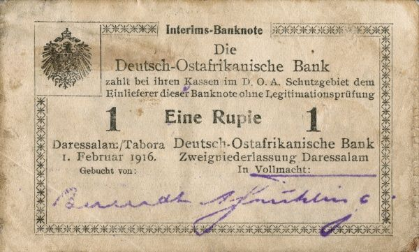 Front of an east african banknote on 1 Rupie edited in Dar es Salaam/Tabora 1/2 1916. Date: 1916
