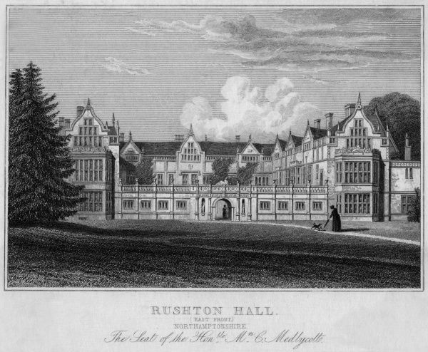 View of the East Front of Rushton Hall, Northamptonshire, the seat of the Honourable Mrs C Medlycotte. Date: 19th century