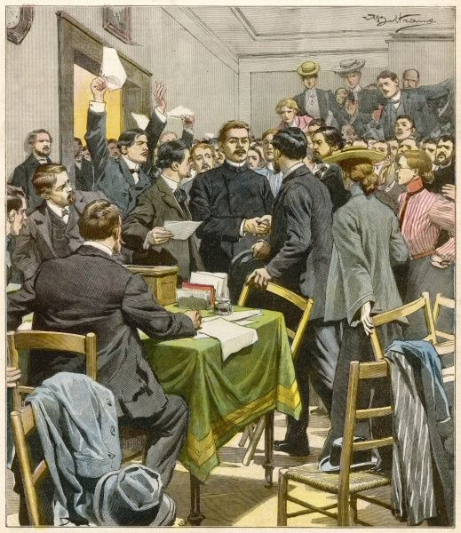 Russian writer Maxim Gorky attends a meeting of revolutionaries held in London