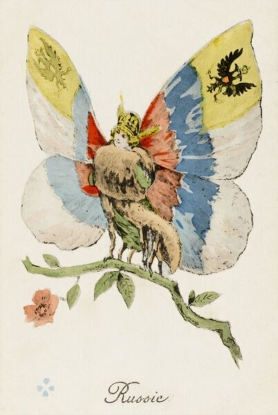 A World War One era postcard from a French series 'Les Allies' - Russia depicted as a patriotic butterfly, with the black Russian eagle on her wings