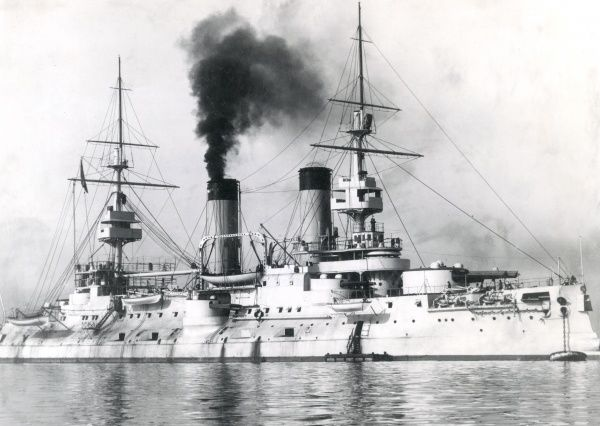 The Russian battleship HIRM Tsarevich (or Tsesarevich), named after the heir to the Russian throne. Built in France, launched 1900, commissioned 1901, seen here at Toulon. She was renamed Grazhdanin (meaning Citizen) in 1917, and decommissioned in 1918