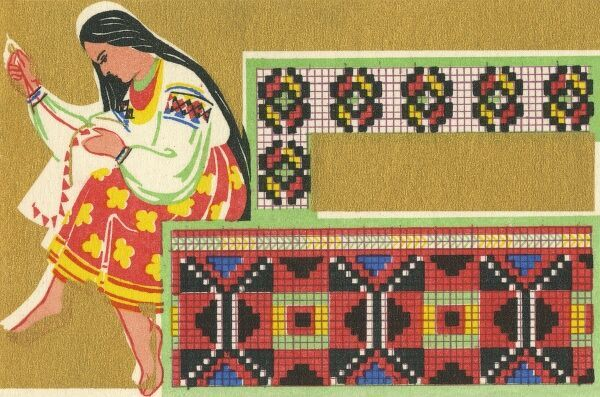 Russian Berlin Work Pattern with a Russian girl in traditional costume working on her sewing. Date: 1937