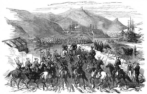 Engraving showing Russian cavalry re-entering Balaklava, as British troops pulled out, at the end of the Crimean War, 1856. The fort can be seen in the background