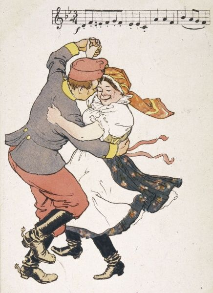 A Russian soldier and a peasant woman in a lively dance