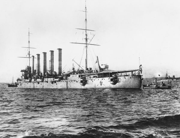 Russian Cruiser Askold which was nicknamed a Packet of Woodbines, on account of its five funnels, in service during World War I