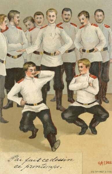 Russian soldiers dancing a traditional Cossack folk dance, called the Hopak (or Gopak), which originates from the Ukraine