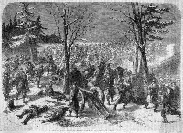 Polish insurgents under Lambrowski in the act of capturing a Russian cannon near Nowogrodek