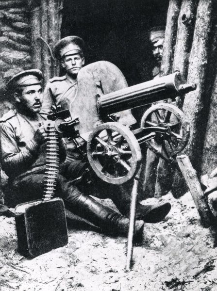 Russian machine gunners in action with a Maxim gun on the eastern front during the First World War. Date: 1914-1917
