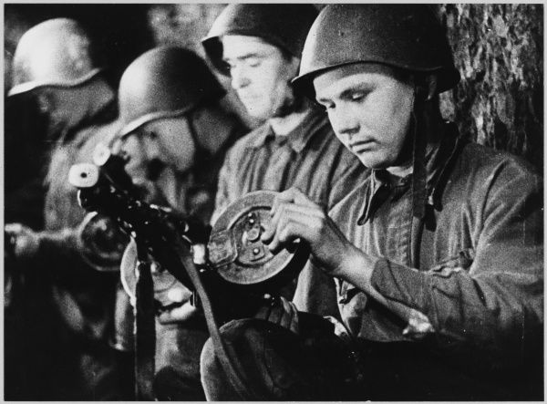 Soviet troops in a trench. The gun is a 7.62 PPSH sub-machine gun