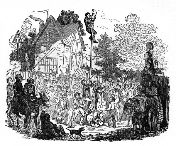 Rustic Fete at Northfleet, Kent - a successful competitor climbs the greasy pole and wins the flitch of bacon, to the plaudits of the crowd Date: 1832