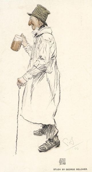 An ancient English countryman wearing a white smock frock - useful for keeping his clothes clean when working in the fields