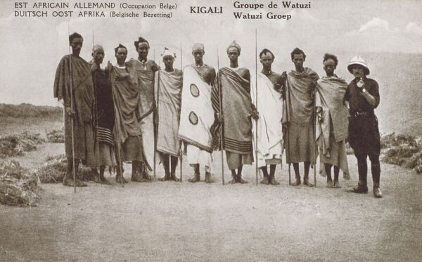 Rwanda, Africa (Formerly Dutch East Africa, pictured during Belgian occupation) - Group of Tutsi Tribesmen (and a rogue Belgian on the right!)