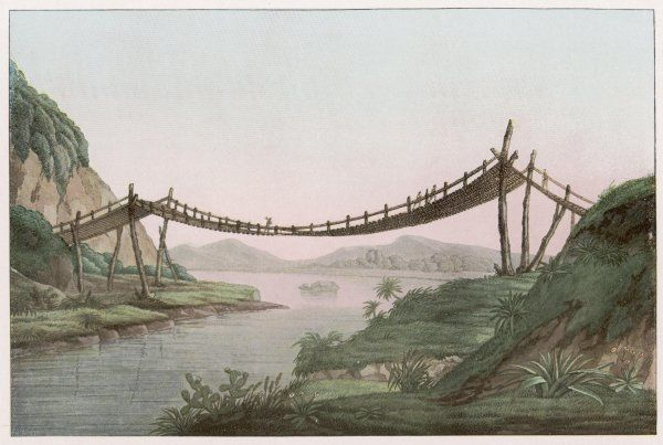 A rope bridge over a river at the entrance to a lake in the South American countryside, drawn by Alexander von Humboldt during his travels