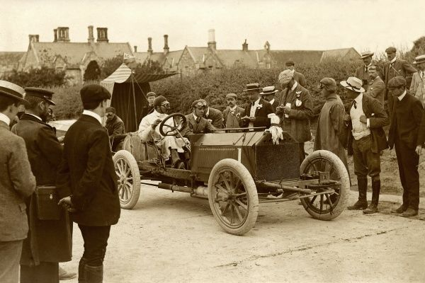 S F Edge leaving Athy control, Napier racing car, 1903 Date: 1903