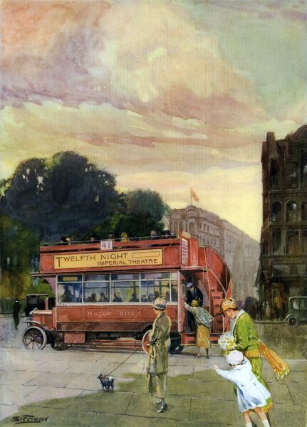 Passengers hurry to climb aboard an open top London bus, which advertises Twelfth Night at the Imperial Theatre along its side