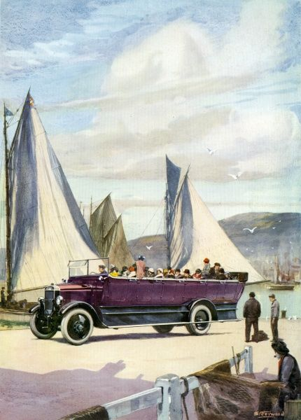 An open top charabanc, full of day trippers arrives at the harbour of a seaside town