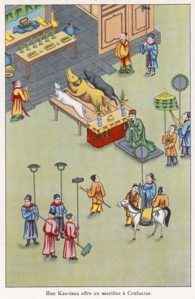 The emperor Kao Tsu (personal name Liu Pang), founder of the Han dynasty, sacrifices a pig, a goat and a cow at the tomb of Confucius, who surely would not have approved !