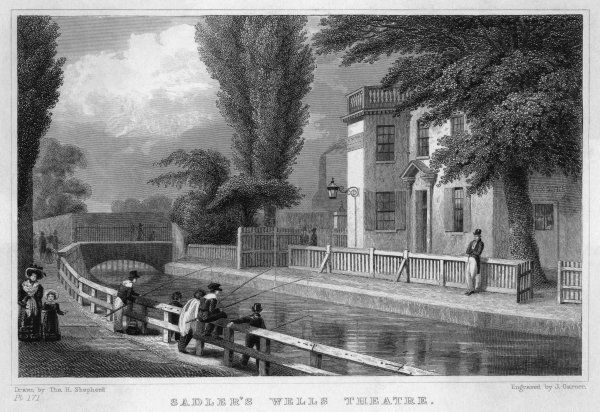 Boys fishing across the canal from the theatre
