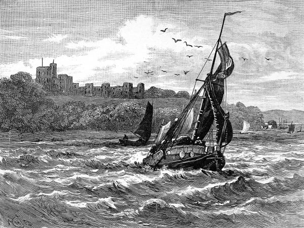 Engraving showing a sailing barge in the Solent, with Norris Castle on the Isle of Wight in the background, 1833. Norris Castle was the residence of Queen Victoria (1819-1901) and her mother, the Duchess of Kent, at that time