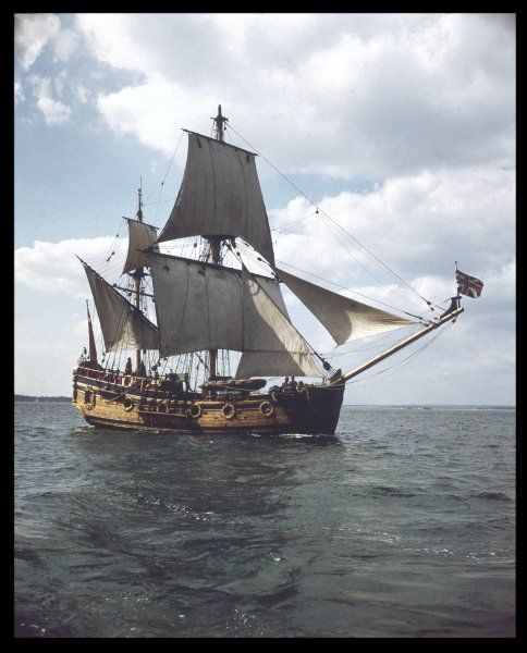 The replica of the sailing ship the 'Nonsuch', built in 1970. The original ship sailed to Canada in 1668 and played a part in the establishment of the Hudson Bay Company